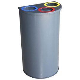 papelera reciclaje triple semicircular