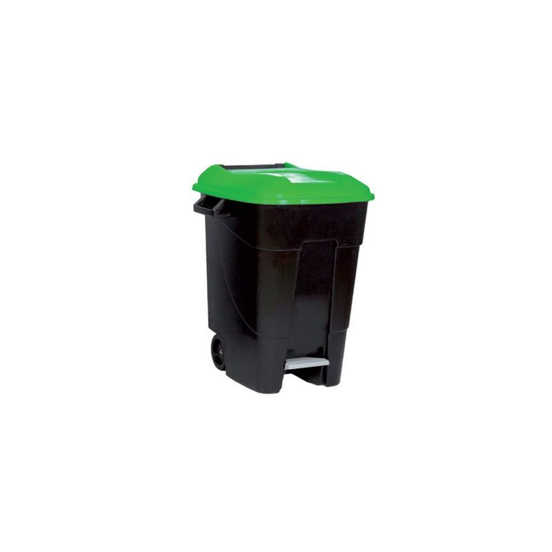 contenedor movil con pedal tapa verde