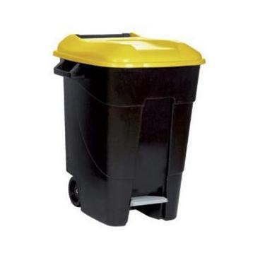 papelera pedal litros tapa amarilla