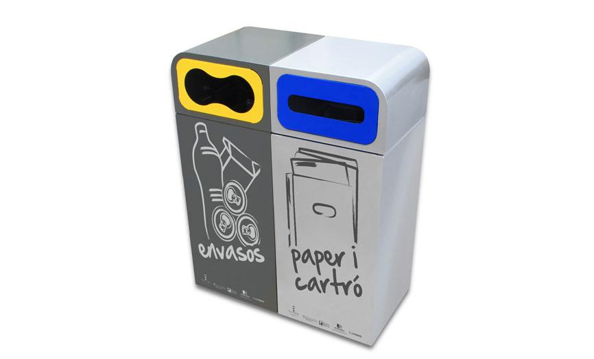 papelera reciclaje doble personalizada