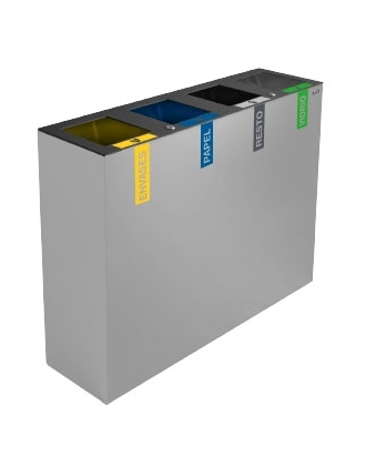 papelera de reciclaje cuadruple
