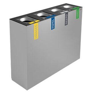 papelera reciclaje autoextinguible cuadruple
