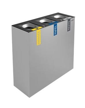 papelera reciclaje autoextinguible triple