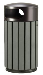 papelera listones reciclados gris